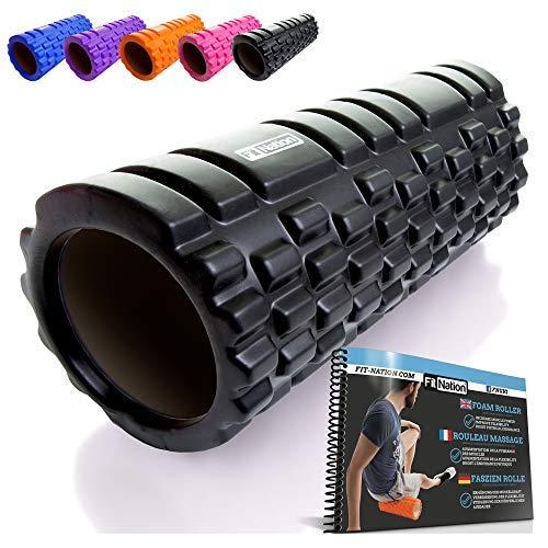 Rodillo de espuma para masaje muscular (Libro de ejercicios incluido) diseño de rejilla para accionar la terapia de puntos para el dolor de espalda y los músculos de las piernas - 33 x 14 cm