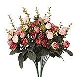 Lot de 2 bouquets de fleurs artificielles Houda - En soie - Avec feuilles et roses - Pour décoration de mariage