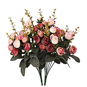 Houda Artificial Silk Fake Flowers Rose Floral Decor Bouquet,Pack of 2