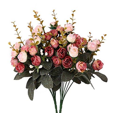 Künstliche Seiden-Blumen mit Stielen und Blättern von Houda, Rosen, Hochzeits-Dekoration, Sträuße, 2Stück Pink Coffee