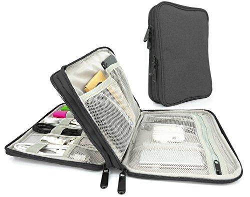 MyGadget Universal Kabel Organizer Tasche für Elektronik Zubehör - Reise Kabeltasche Aufbewahrung für Ladekabel, Powerbank, Ladegerät, SD Karte - Schwarz