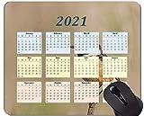 Yanteng Alfombrilla de ratón con Calendario 2021, Alfombrillas de ratón rectangulares Personalizadas para Juegos de árbol de alas de Animales