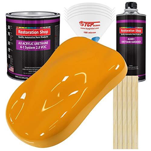 Restoration Shop - School Bus Yellow Acrylic Urethane Auto Paint - Complete Gallon Paint Kit - Professional Single Stage High Gloss Automotive, Car, Truck Coating, 4:1 Mix Ratio, 2.8 VOC