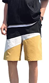 Howely Men's Straight Striped Embroidery Athletic Summer Midi Shorts Pants