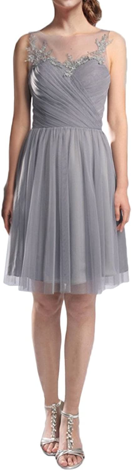 MILANO BRIDE New Arrival Short Homecoming Dress Party Gown IllusionNeck Applique