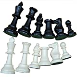 Vbestlife Chess,Weight Tournament Chess Game Set - Chess Board Game International Chess Pieces Complete Chessmen Set Black & White Large-77mm