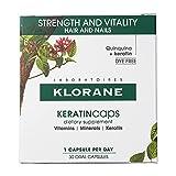 Klorane KERATINcaps Suplementos dietéticos con biotina, quinina, vitaminas B para cabello más grueso, más fuerte, sin cafeína, sin tinte, suministro de 30 días