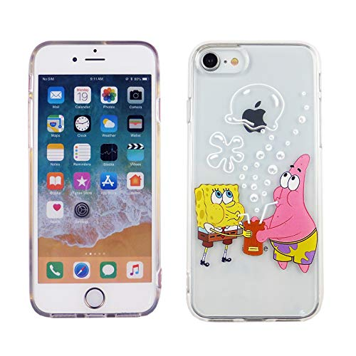 iPhone SE 2020 TPU Case CASEVEREST 3D Print Design Slim Fit Cover Spongebob Sqarepants Patrick Drinking Bubbles iPhone 6S 7 8