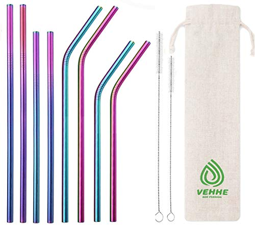VEHHE Reusable Straws 8 Set Multi Color Stainless Steel Straws - Cleaning Brush for 20 Oz (Rainbow: 8.5 inch + 10.5 inch) …
