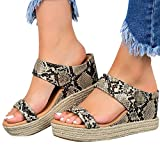 Hosamtel Wedges Shoes for Women Sandals,2020 Summer Open Toe Breathable Beach Sandals Slip-On Straw Casual Wedges Shoes Brown