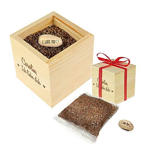Casa Vivente Zauberbohne mit gravierter Holzbox, Ich liebe dich, Personalisiert mit Namen, Pflanze mit Botschaft I love you, Inklusive Anzuchtset
