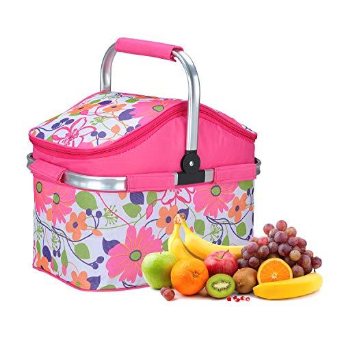TOP Star 20 Liter Grote Geïsoleerde Picknick Mand, Barbecue Vlees Drink Gekoelde Tas, Inklapbaar, Geschikt voor Familie Vakantie Verzamelen Outdoor Reizen roze