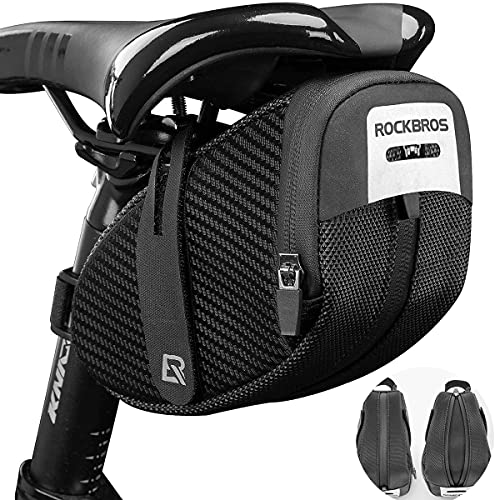 ROCKBROS サドルバッグ 自転車 自転車バッグ ロードバイク 容量拡張可能 可変式 防雨 コンパクト 軽量 装着便利 反射材付き 小物収納