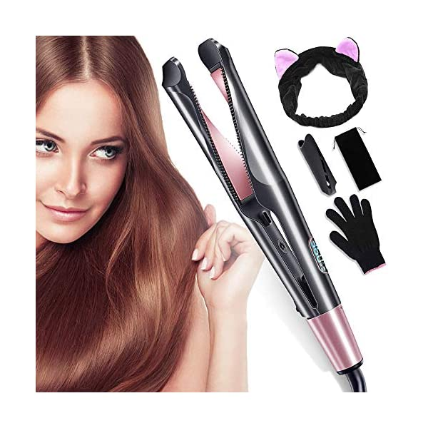 Beauty Shopping 【2020 Updated】Hair Straightener Curling Iron 2 in 1, Flat Iron Curls with Adjustable