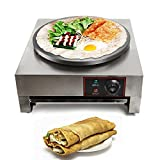 16-Inch Commercial Electric Crepe Maker, 110V 2.8KW Non-Stick Electric Crepe Pan Single Hotplate with Wood Spreader (Style 1)