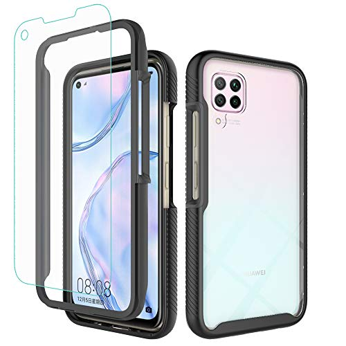 iRunzo 2 in 1 Hybrid Rugged Armor Cases for Huawei P40 Lite Cover Nova 7i Soft TPU + PC Bumper 360° Full Body Protect Shockproof + Tempered Glass Screen Protector (Black)