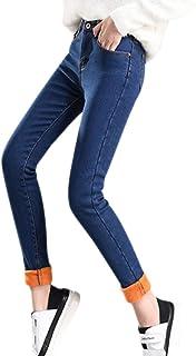 XFentech 女性のジーンズのズボン - 冬のファッション女性ハイウエスト保温ベルベットスリムジーンズズボン