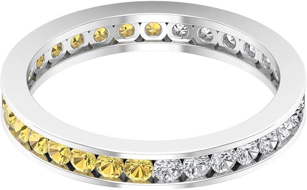 3/4 Ct Certified 2mm Citrine Diamond Alternating Ring, 1/2 Ct Diamond Bridal Promise Ring, Gemstone Eternity Ring, Antique Wedding Band Ring, 14K Gold