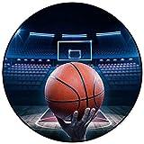 Alfombras para Habitaciones de niños, cancha de Baloncesto, patrón de Baloncesto, Alfombra Redonda, alfombras para el hogar, Sala de Estar, Dormitorio, 120x120cm