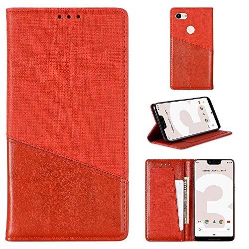 Byr883onJa Funda de piel con tapa horizontal para Google Pixel 3 XL MX109, con tarjetero y cartera, color rojo