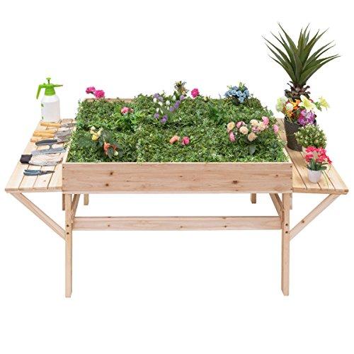 Giantex Garden Raised Bed Wood Flower Elevated Gardening Planter w/ 2 Side Platforms Plant Workstation
