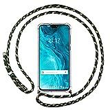 Coque transparente pour Huawei Honor 9X Lite avec cordon vert/doré