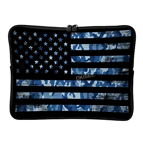 DKISEE Usa Flag Navy Camouflage Laptop Sleeve for Women Men, Compatible with 12 Inch MacBook Air/MacBook Pro Notebook Two-way Zippers Laptop Carrying Bag Case Cover