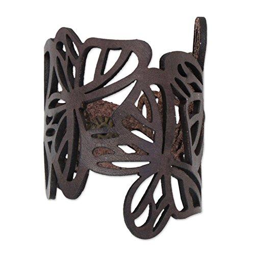 NOVICA Leather Wristband Bracelet, 7' 'Brazilian Butterfly in Brown'
