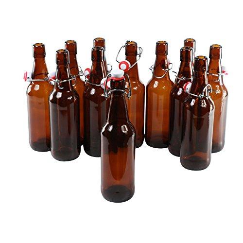 Botellas con tapón mecánico -12 botellas con tapón mecánico para cerveza de cristal marrón , vidrio, 500 ml