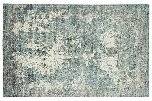 Handloom Vintage 350x250 Handgewebt Teppich 250x350 Blau Abstrakt a