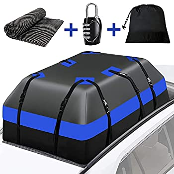 WARMQ Car Rooftop Cargo Carrier - 15 Cubic Feet Waterproof Vehicle Cargo Carrierswith Anti-Slip Mat 10 Reinforced Straps 6 Door Hooks for All Vehicle SUV with or Without Rack