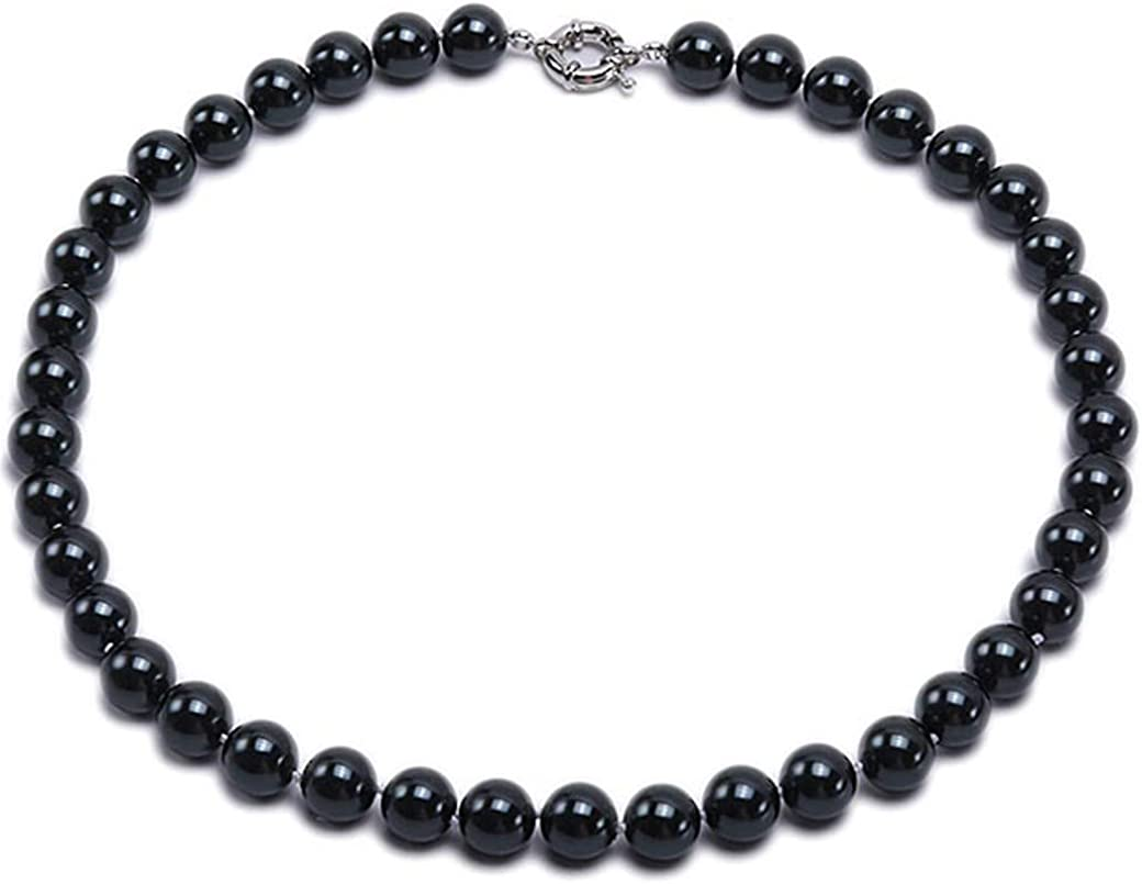 JYX Pearl Necklace Black South Sea Shell Pearl Necklace 12mm Round Shell Bead Strand Jewelry for Women 18''