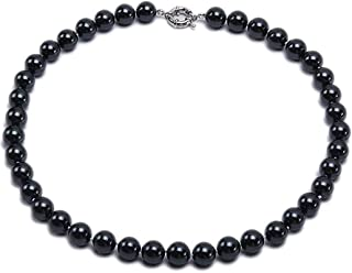 Necklace Black South Sea Shell Pearl Necklace 12mm Round Shell Beads Single Strand Jewelry for Women 18''