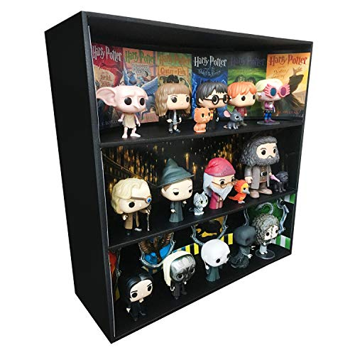 Display Geek 1 Stackable Toy Shelf for 4 in. Vinyl Collectibles with 3 Backdrop Inserts, Black Corrugated Cardboard image