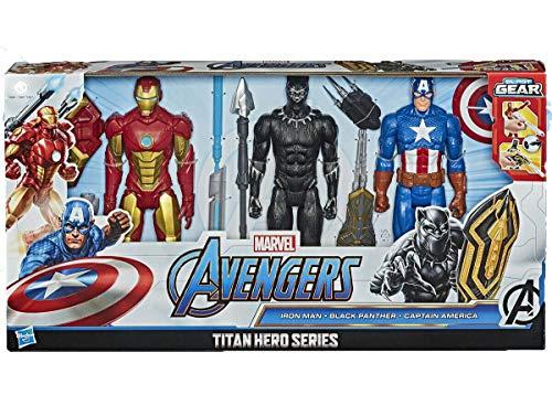 Marvel Avengers TITAN Hero Series - Juego de 3 figuras de accin de Pantera Negra, Iron Man y Capitn Amrica, 30,48 cm