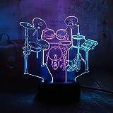 Lámpara De Dormitorio Regalos De Navidad Luz De Noche Nuevo Instrumento Musical Jazz Drum Set 3D Led Rgb Doble Mezcla Luz De Noche De Doble Color Cumpleaños Regalo De Cumpleaños Regalo De Navidad