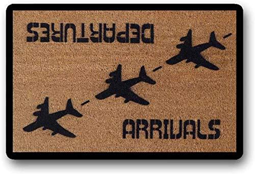 """LHM Felpudo, felpudo de bienvenida con texto en inglés """"Arrivals Departures Aviation Hello Goodby"""", diseño de avión, avión, piloto de avión, 40 x 60 cm"""