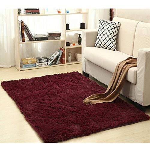 Alfombra Shaggy Calentar Felpa alfombras Alfombras for los niños de la Sala Mullido Inicio Faux Área Manta de la Piel Sedosa Mats Alfombras (Color : Wine Red, Size : 100x160cm)