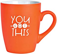 Ceramic Coffee Mug with Inspiring Quote - Bright Color Orange Classic Coffee Cup | Holds 12 Ounces | Believe in Yourself