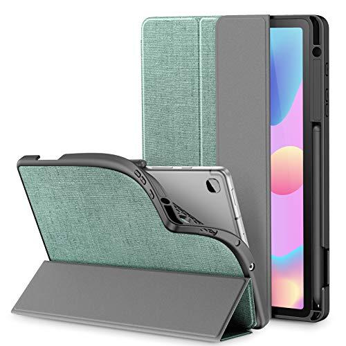 INFILAND Custodia Cover per Samsung Galaxy Tab S6 Lite 10,4 2020, Tri-Fold TPU Cover con Portapenne per Samsung Galaxy Tab S6 Lite 10,4 Pollice (P610/P615) 2020,Menta Verde