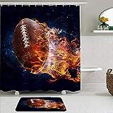 PbbrTK Ensemble de Rideaux de Douche et de Tapis en Tissu,Ballon de Rugby feu Flamme,Rideaux de Bain hydrofuges avec 12 Crochets,Tapis antidérapants