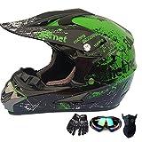 SMILE Casco de Moto ATV Casco de Moto SUV Casco + Gafas + Gu