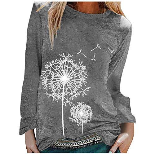 ZWH Casual Imprimir O-Cuello Feitong Moda Larga de Las Mujeres Camiseta de Las Mangas de la túnica de Verano Tapas de Las Mujeres Camisetas (Color : Gray, Size : M)