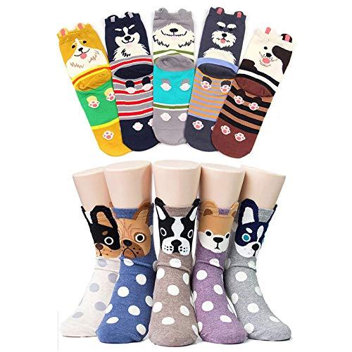 CaiDieNu Damen Baumwolle Niedlich Karikatur Tiere Charakter Socken Lustige Verrückte Motiv Witzig Socken Damen,10 Parre
