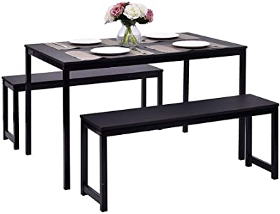 Dining Table Set, 3 Pieces Farmhouse Kitchen Table Set with Two Benches, Metal Frame and MDF Board, Modern Furniture for Dining Room, Cafeteria and Apartment (Black)