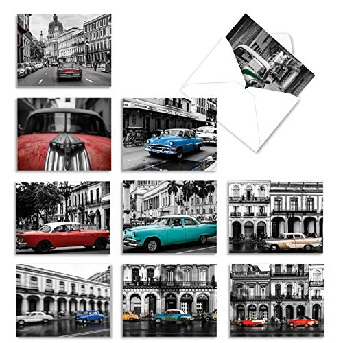Box of 10 Thank You Note Cards 4 x 5.12 inch with Envelopes - 'Havana Hotrods' Assortment of Greeting Cards Featuring Classic Cars Set in a Black and White Cityscape M6550TYG