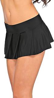 Arunta® Minigonna sexy corta, a pieghe, stile studentessa, in nero, rosso, viola, rosa o turchese, taglia unica XS-M 38-42