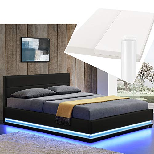 ArtLife LED Polsterbett Toulouse 180 × 200 cm mit Matratze, Lattenrost & Bettkasten - Kunstleder Bezug & Holz Gestell – schwarz – Bett Doppelbett