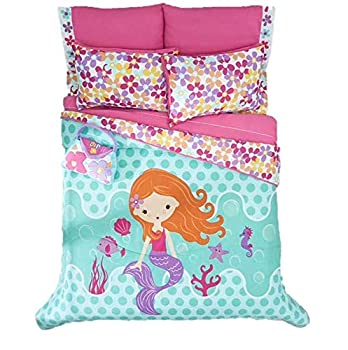 BEST SELLER LITTLE MERMAID GIRLS CHIC REVERSIBLE COMFORTER SET AND EMBROIDERED SHEET SET 6 PCS