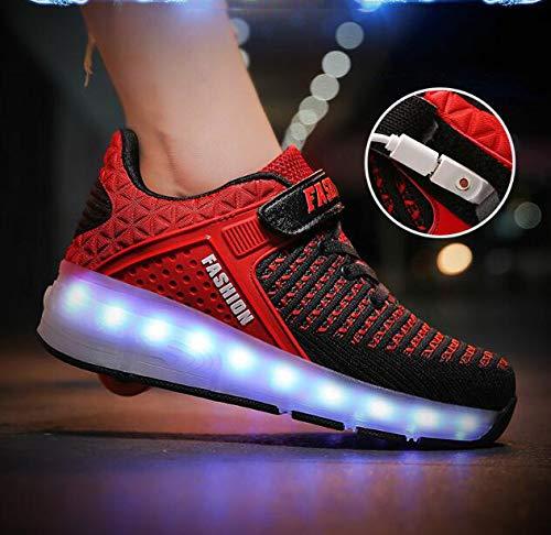 nnnn Led-rolschaatsen, 7 kleurverandering, led-knipperende schoenen, jongens meisjes, sportschoenen, skateboard met wieltjes, outdoor fitnessschoenen, USB-oplaadbaar, rood
